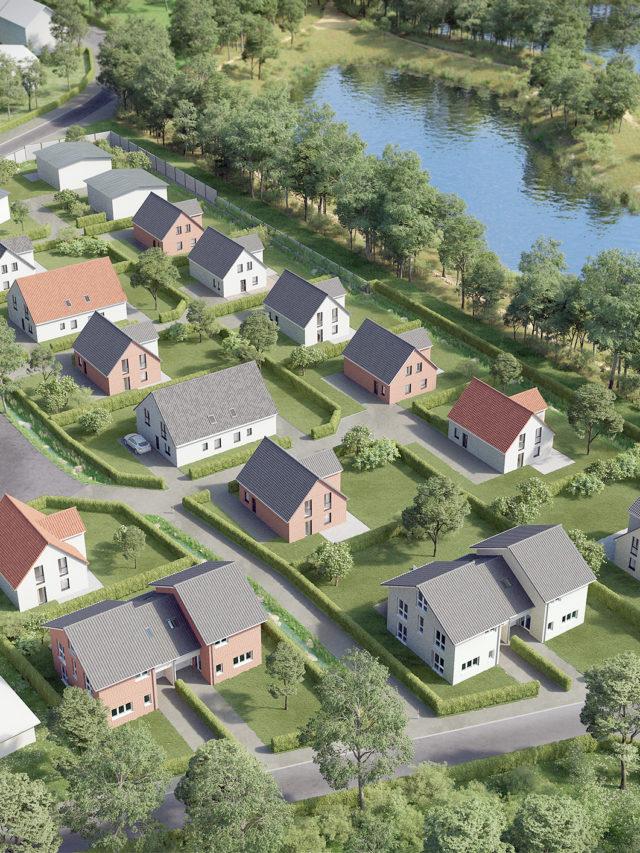Quartiersentwicklung Heisede - MGM - 3D-Visualisierung - Architektur - Überflugperspektive