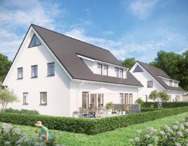 Immobilien - Doppelhaus - 3D-Visualisierung - Vermarktung - Garten