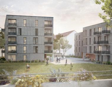 Wohnquartier Ilsestraße - CKRS Architekten - Perspektive Innenhof 02
