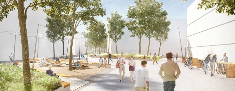 quartier meditech oldenburg - 3d-visualisierung - quartiersplatz - fußgaengerperspektive