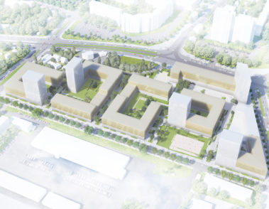 Stadtquartier Gehrenseestrasse Berlin - roedig schop architekten - chora blau Landschaftsarchitektur - Visualisierung Überflugperspektive