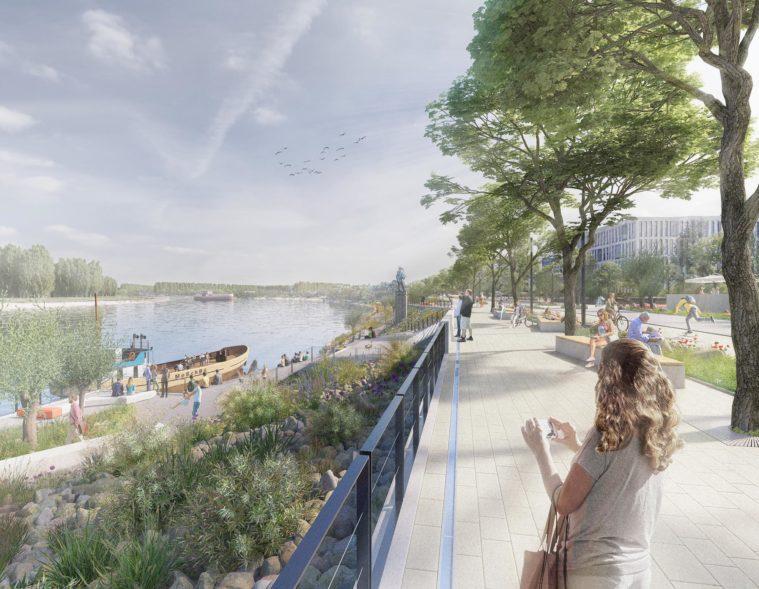 3d visualisierung-rheinuferpromenade-monheim-chora blau-strauchwerk